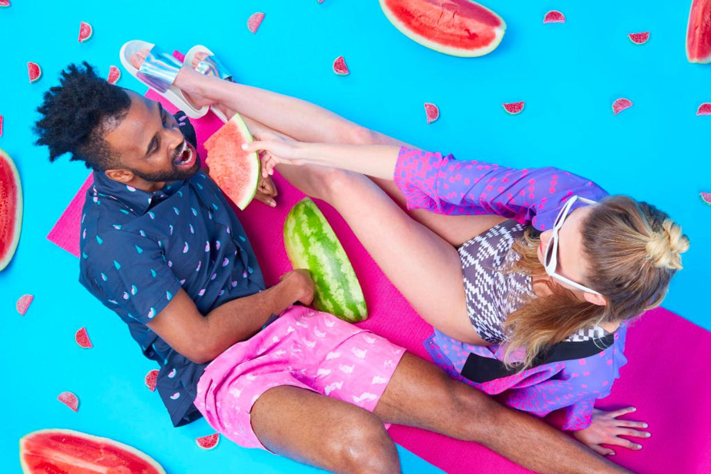 PAOM, Print All Over Me, digital print, design, fashion, style, collaboration, giphy, Swim Short, Swim-Short, SwimShort, Pink, Parrots, Shorts, spring summer, unisex, Poly, Swimwear