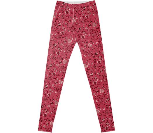 Pink hearts and flowers leggins
