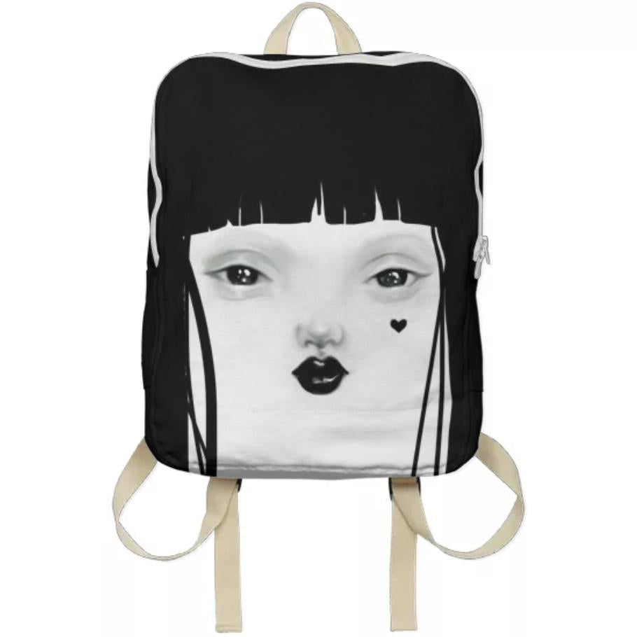 PAOM, Print All Over Me, digital print, design, fashion, style, collaboration, pidgin-doll, pidgin doll, Backpack, Backpack, Backpack, Pidgin, Black, autumn winter spring summer, unisex, Poly, Bags