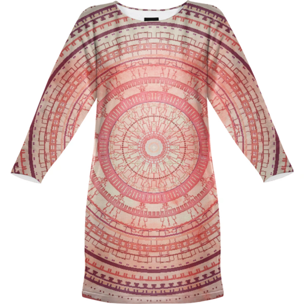 VIntage Pink Mandala Sweatshirt Dress
