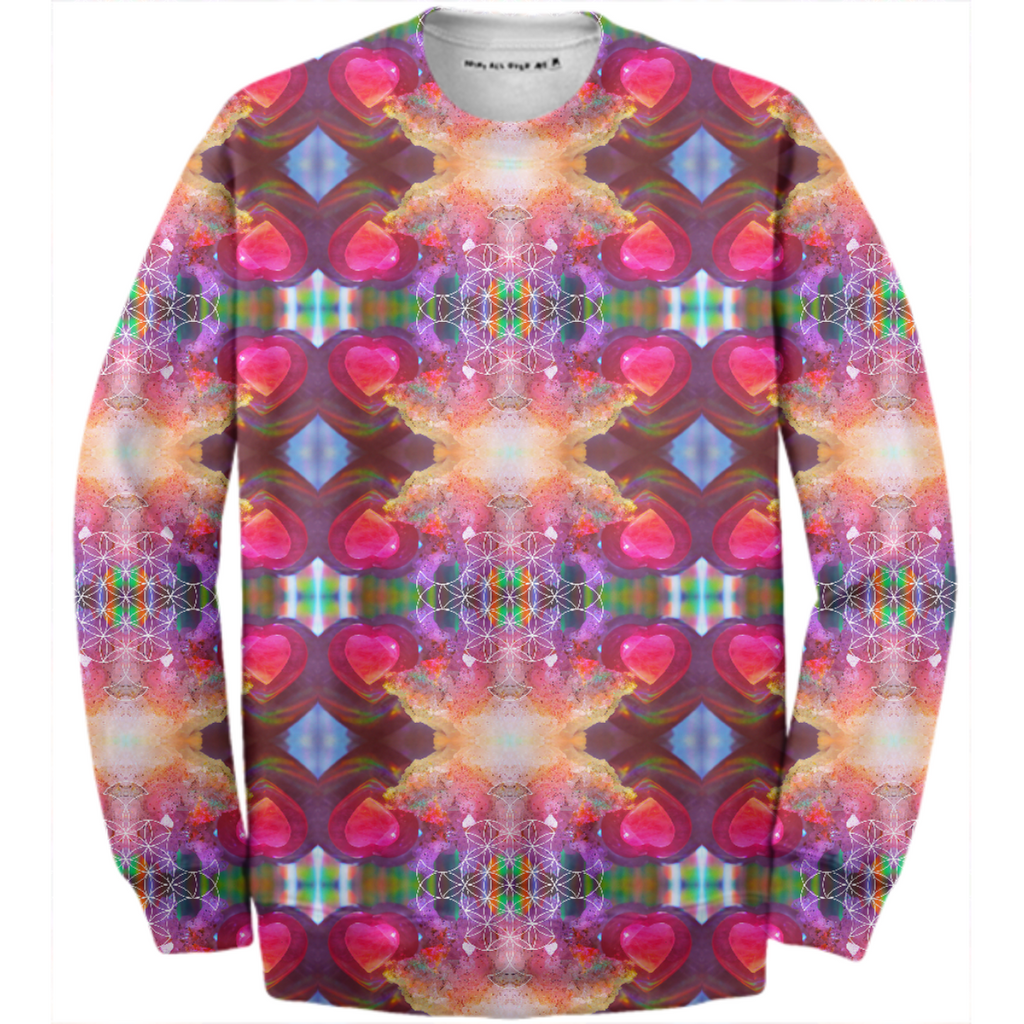 rainbow amethyst and rose quartz crystal rainbow mandala ~ cotton sweatshirt ~ design 02