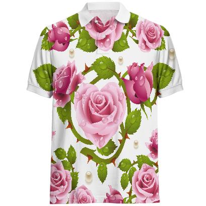 Tribal Rose Men s Polo PINK