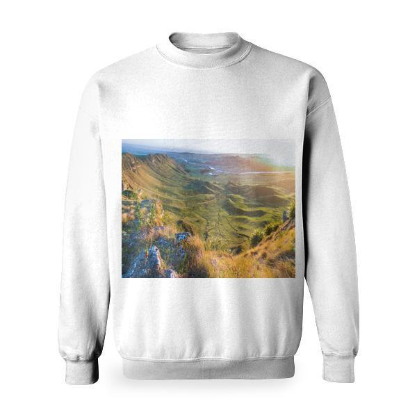 View Of Mountain Range During Sunset Basic Sweatshirt