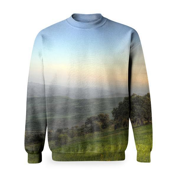 Trees Surrounded By Green Grass Field During Daytime Basic Sweatshirt