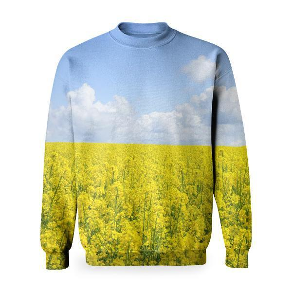 Yellow Flower Field Under Blue Cloudy Sky During Daytime Basic Sweatshirt