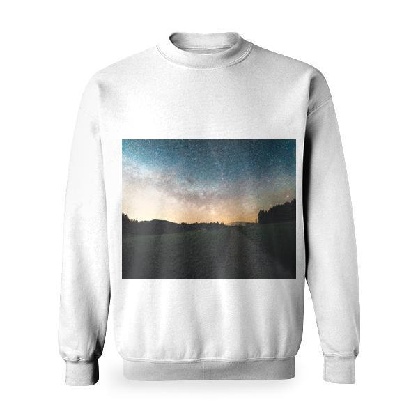 Green Grass Field Surrounded By Trees Under Blue Sky Basic Sweatshirt