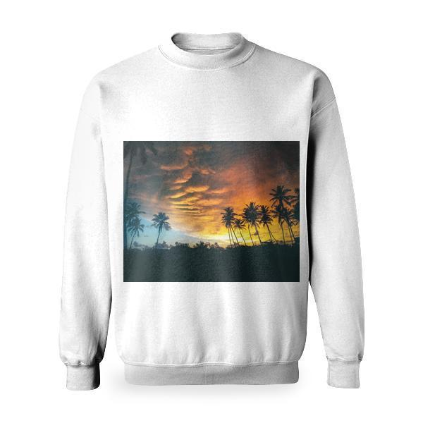 Silhouette Of Coconut Trees Under Dark Clouds During Golden Hours Basic Sweatshirt