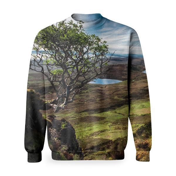 Brown Green Plant On Cliff Of Grassy Mountain Basic Sweatshirt