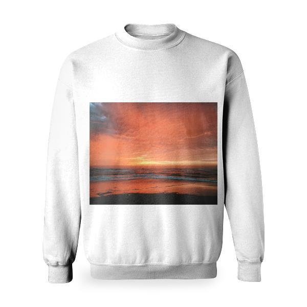 View Of Seashore With Red And Yellow Clouds During Sunset Basic Sweatshirt