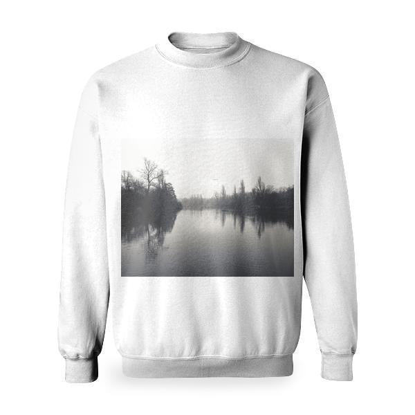 Calm Water In Between Of Tall Trees Classic Photo Basic Sweatshirt