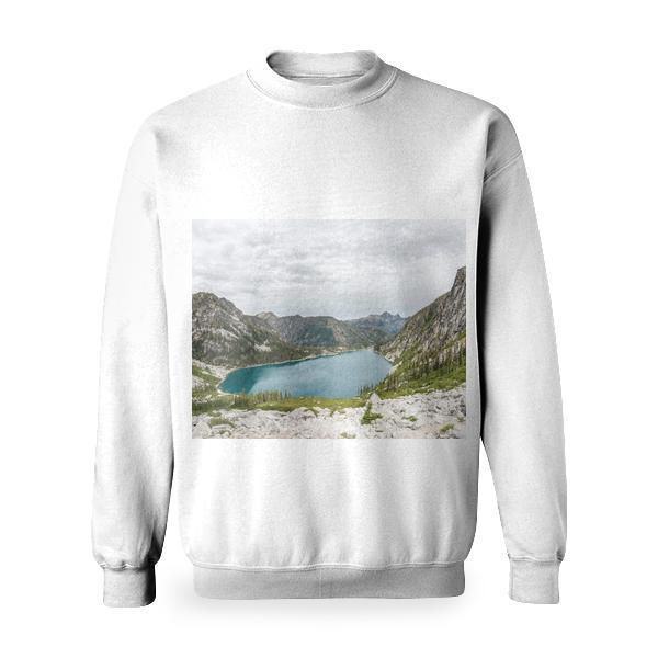 Grey Rock Mountain Near Body Of Water Basic Sweatshirt