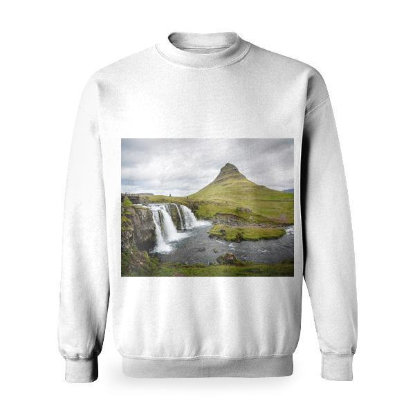 Waterfalls Near A Green Mountain Landscape Basic Sweatshirt