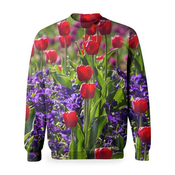 Tulips Flower With Green Leaves During Daytime Basic Sweatshirt