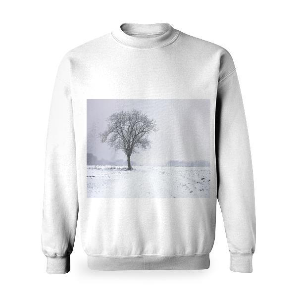 This Picture Features A Tree In Beautiful Winter Setting The Single Snow Covered Stands Middle Of Wide And Open Field Background Behind Some Fog Little Forest Trees Are Visible Basic Sweatshirt