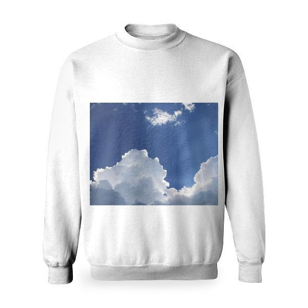 Sunlit On Blue And White Clouds During Daytime Basic Sweatshirt