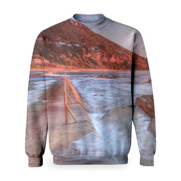 Waves On Rocks Shore At Sunset Basic Sweatshirt