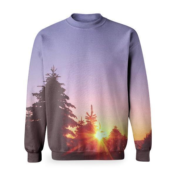 Silhoutte Of Tree During Sunset Basic Sweatshirt