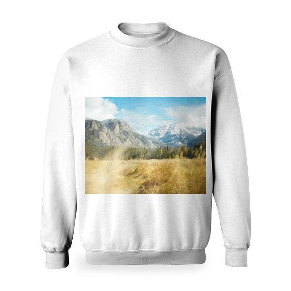 Yellow Grass And Green Trees In The Mountain View During Daytime Basic Sweatshirt