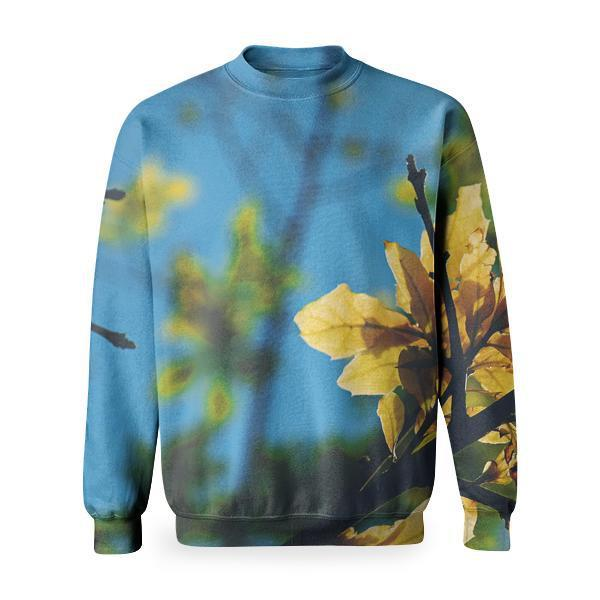 Selective Focus Photography Of Yellow Leaf Tree During Daytime Under Blue Sky Basic Sweatshirt