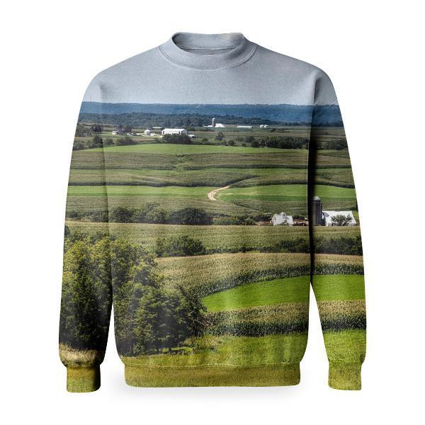White House Surrounded By Green Trees Under Grey Sky Basic Sweatshirt