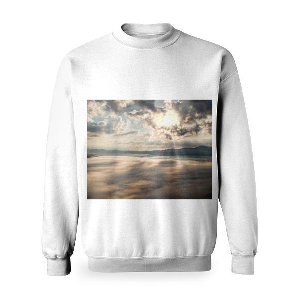 White Clouds With Sun Piercing Through It Basic Sweatshirt