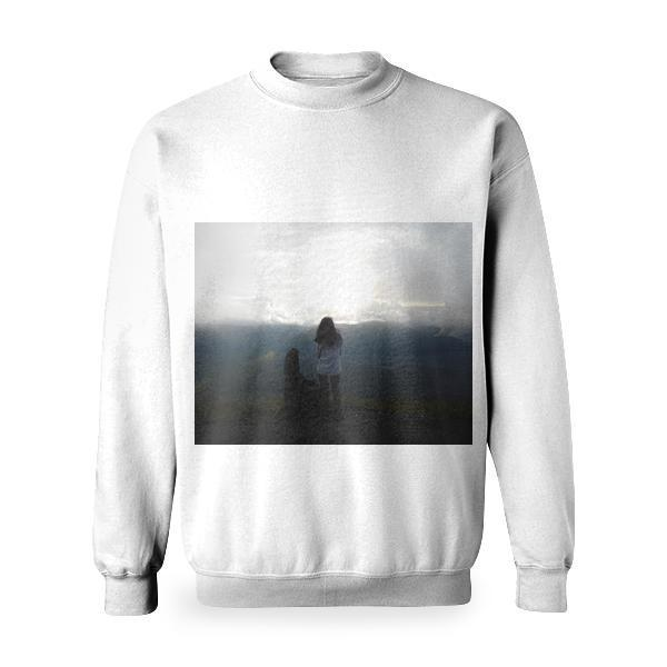 Woman Staing At The Edge Of Mountain Facing Sun Basic Sweatshirt