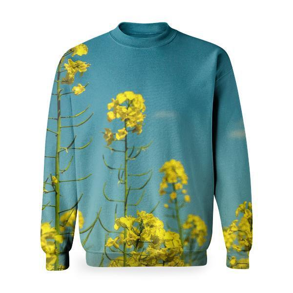 Yellow Flowers Under Partly Cloudy Skies During Daytime Basic Sweatshirt