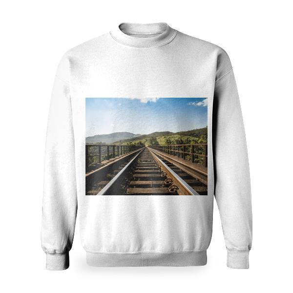 Mountains Nature Sunny Bridge Basic Sweatshirt