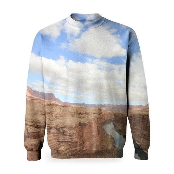 River In Between Cliffs Under Cloudy Sky Basic Sweatshirt