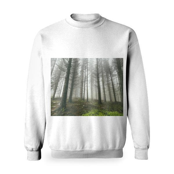 Gray Trunk Tall Tree Foggy Forest During Daytime Basic Sweatshirt