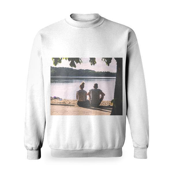 Woman In White Crop Top Besides Man And Black Stripes Shirt Beside Body Of Water Basic Sweatshirt