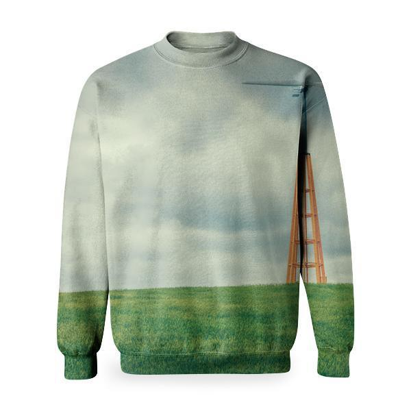 Blue And Brown Windmill During Daytime Basic Sweatshirt