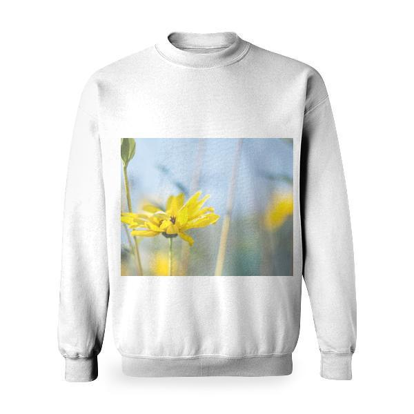 Yellow Flower With Green Leaves Tilt Shift Lens Photography Basic Sweatshirt