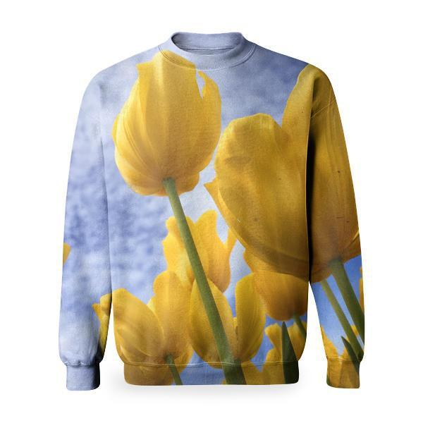 Yellow Flowers Under Blue And White Sunny Cloudy Sky Basic Sweatshirt
