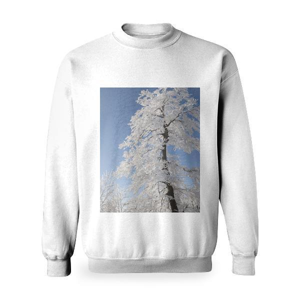 Snow Covered Tree Under Blue Cloudy Sky During Daytime Basic Sweatshirt