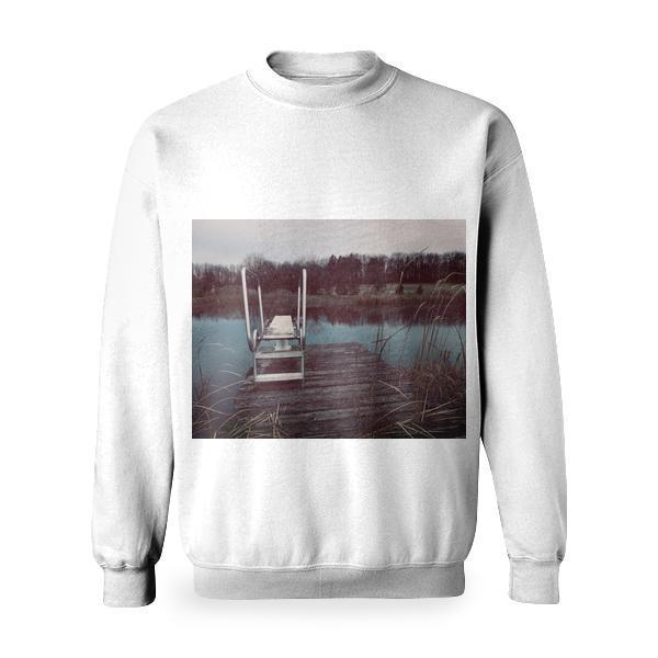 Wooden Structure In Lake Against Sky Basic Sweatshirt