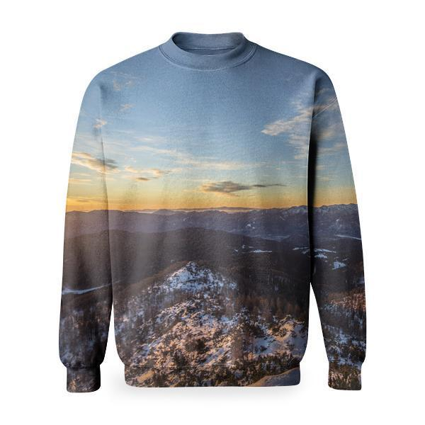 Snow Capped Mountain During Sunrise Basic Sweatshirt