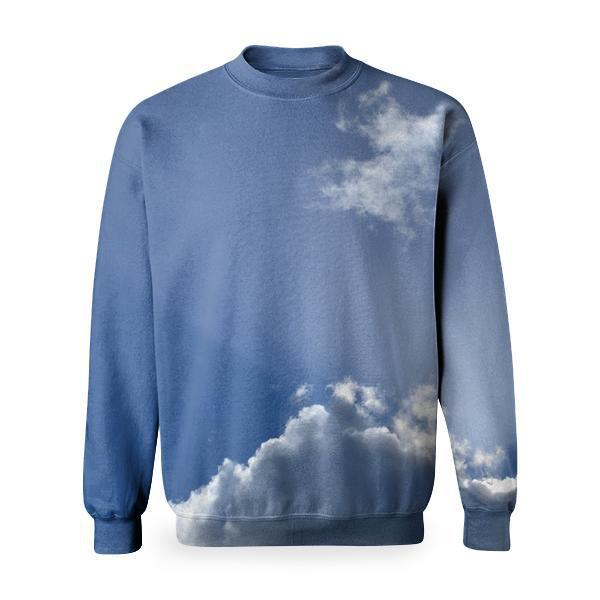 White Cloudy Sky With Sunrays Basic Sweatshirt
