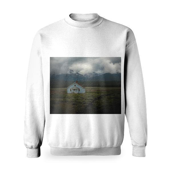 Gray And Brown Roof House In The Middle Of Green Grass Field Near Mountains Photo Basic Sweatshirt