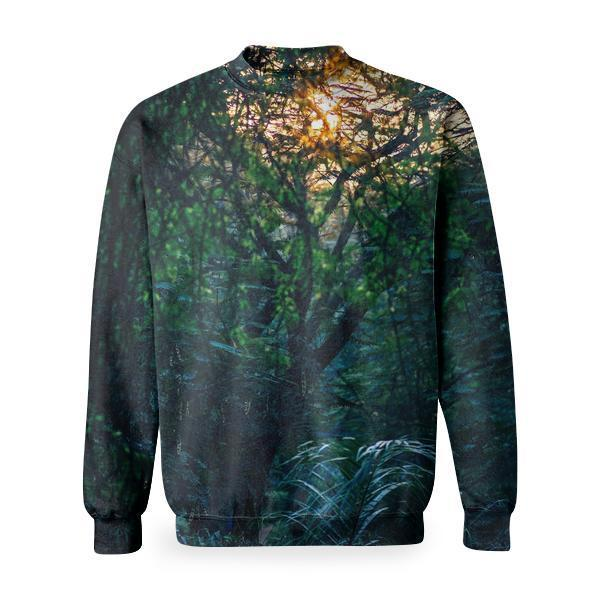 Wood Light Dawn Landscape Basic Sweatshirt