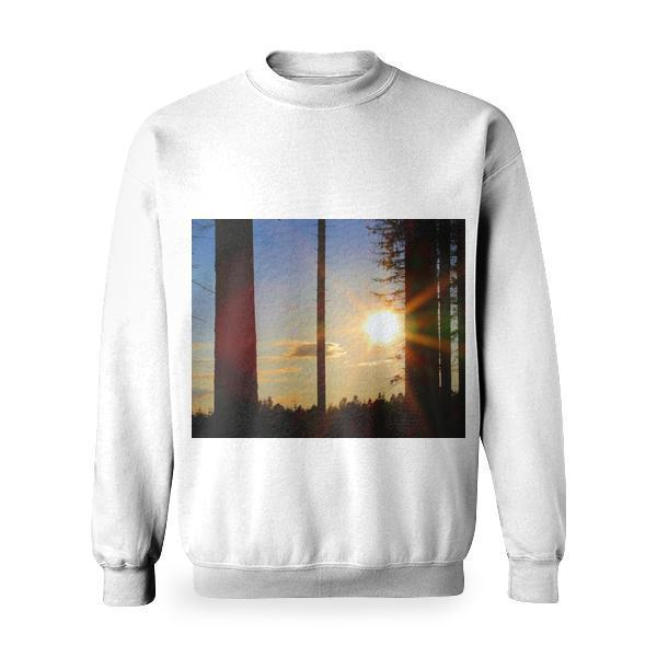 Silhouette Of Trees During Golden Hour Basic Sweatshirt