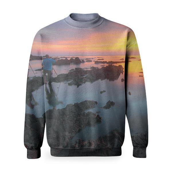 2 People Standing On Rock Formation Reflected Water During Sunset Basic Sweatshirt