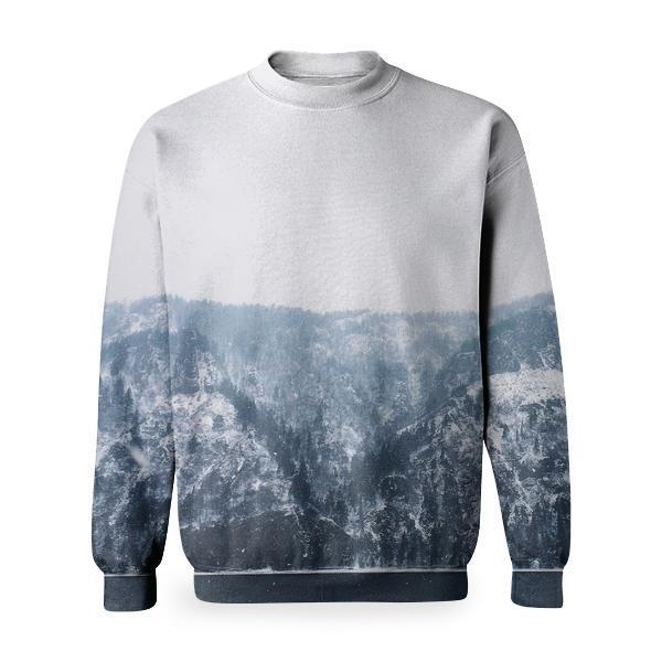 Grayscale Photography Of Snowy Mountain During Daytime Basic Sweatshirt