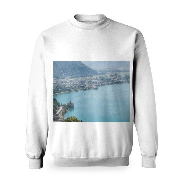High Angle Photography Of Blue Calm Body Water During Daytime Basic Sweatshirt