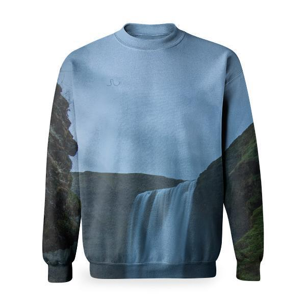 Waterfalls On Green Mountain During Daytime Basic Sweatshirt
