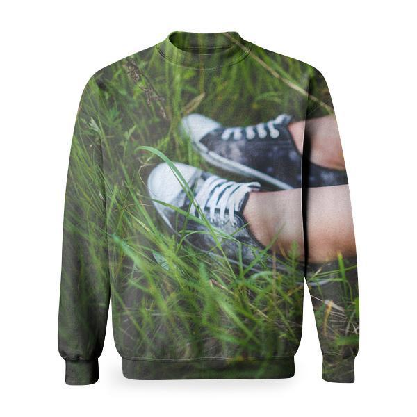 Youth Sneakers On Girl Legs Grass Basic Sweatshirt