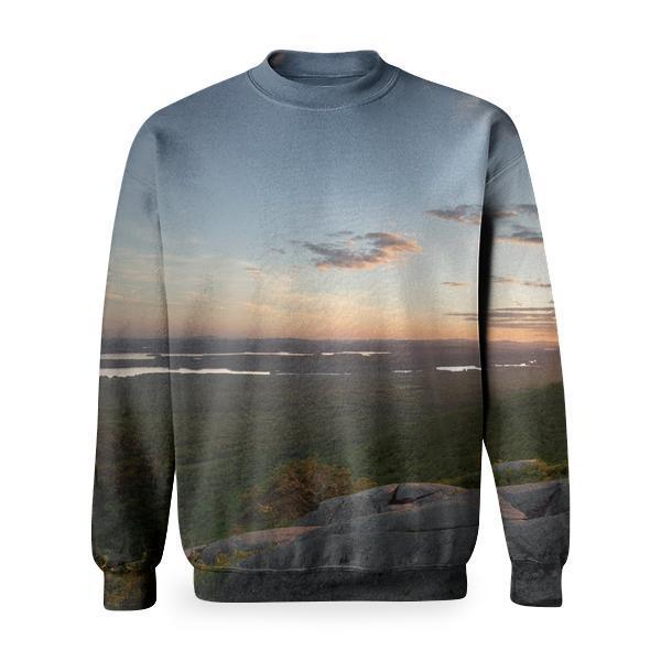 View Of Green Grass Land And Sunset During Daytime Basic Sweatshirt
