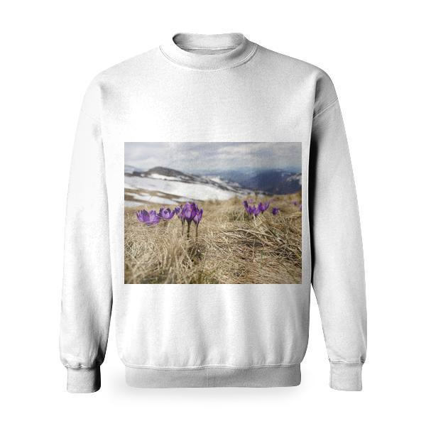 Purple Flower Basic Sweatshirt
