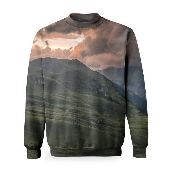 Landscape Photography Of Green Hills Under Gray Sky During Daytime Basic Sweatshirt