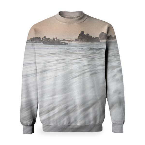 White Sea Wave Foam Basic Sweatshirt